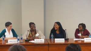 Panel: Resident Perspectives on Housing Mobility. Andrea Juracek (Housing Choice Partners), Jackie Howell, Taneeka Richardson, and Sheila Proano (Baltimore Housing Regional Partnership).
