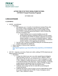 AFTER THE EVICTION MORATORIUM ENDS: COVID-19 Tenant Protection Proposals (PRRAC, October 2020)