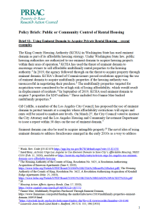Public or Community Control of Rental Housing Policy Brief No. 2: Using Eminent Domain to Acquire Private Rental Housing – Recent Examples (PRRAC, October 2020)
