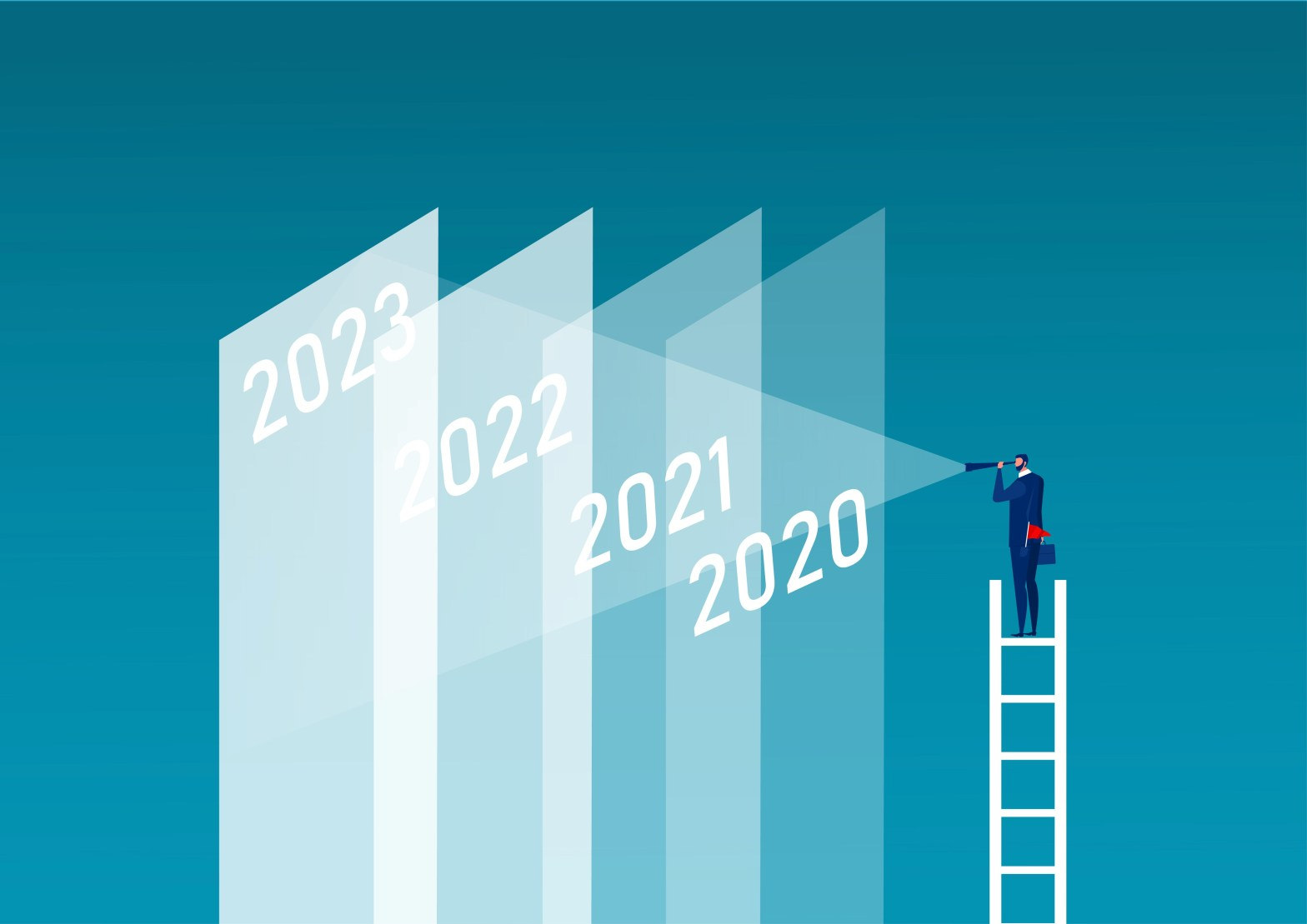 Graphic of a person in a business suit standing on top of a ladder and looking through a hand-held telescope. He's looking from the year number 2020 ahead to the year number 2023.