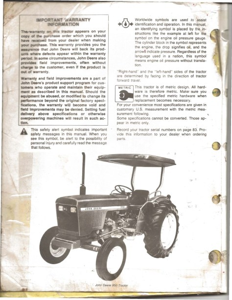 john deere 950 manual - warranty page