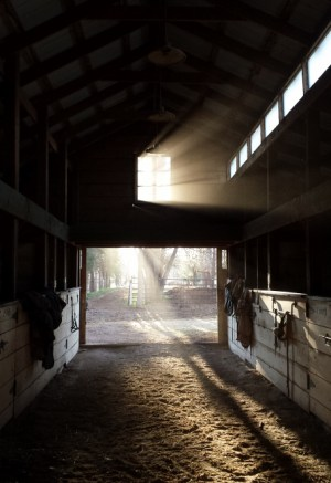 Poudre River Stables barn - sunrise - horse boarding - Fort Collins - Colorado - 80521