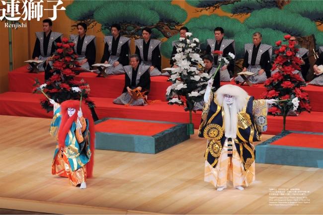『連獅子』あらすじより:松竹が提供する貴重な舞台写真の数々が登場する、あらすじのページ。文章は、分かりやすく場面ごとに区切って掲載。この後、概要、登場人物、と続く