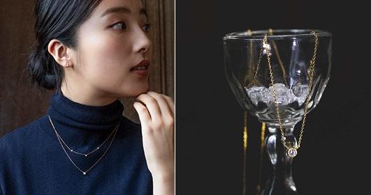 画像左:トリロジーダイヤモンドのネックレス、 画像右:一等星シリウスのダイヤモンドネックレス