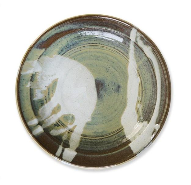 熊本県を代表する小代焼 井上泰秋「ワラ白釉打ち掛け流し大皿」