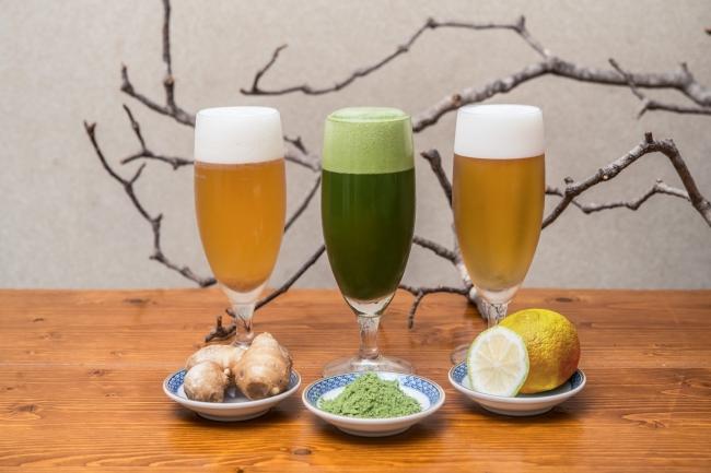左から自家製シャンディガフ・抹茶ビール・京柚子ビール