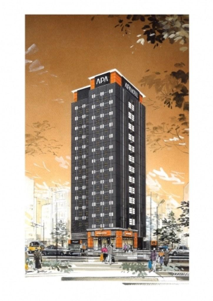 アパホテル〈日本橋 馬喰町駅前〉完成予想外観パース