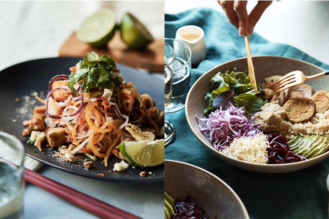 Kelly × Cosme Kitchen Adaptation (左)熊本野菜のパッタイ (右)ハイプロテイン ブッダボウル