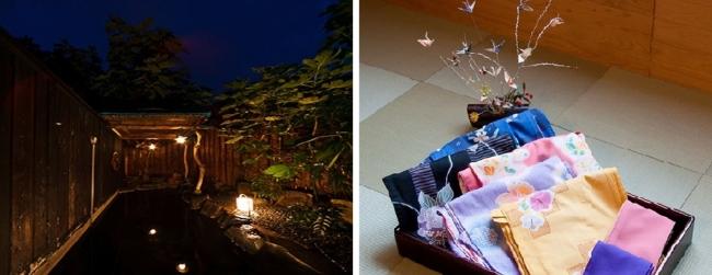 (左から) 1位「箱根湯本大平台温泉 満天の星」の露天風呂と、女性の宿泊客に貸し出している色浴衣。
