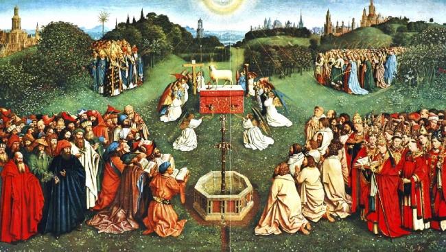 ベルギー王国ゲントの聖バーフ大聖堂にある祭壇画「神秘の子羊」ファン・アイク兄弟作(1432年)