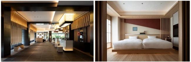 左:エントランスロビー、  右:客室「和スイート」