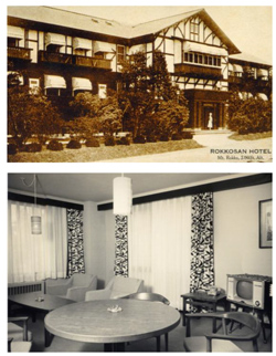 上)開業当時の旧館  下)客室〔昭和30年代後半〕