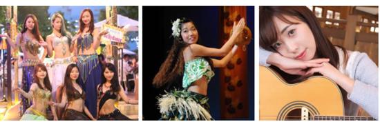 (左から)ベリーダンス、フラダンス、新菜 ひかり