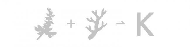 ▲ロゴマークは「デイゴ」と「珊瑚」を、かりゆしの頭文字『K』として重ね合わせています