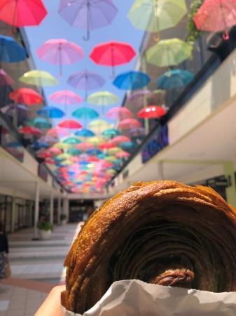 2018年度実施様子  太陽光により床面に傘の影が映り、フォトジェニックな空間を演出
