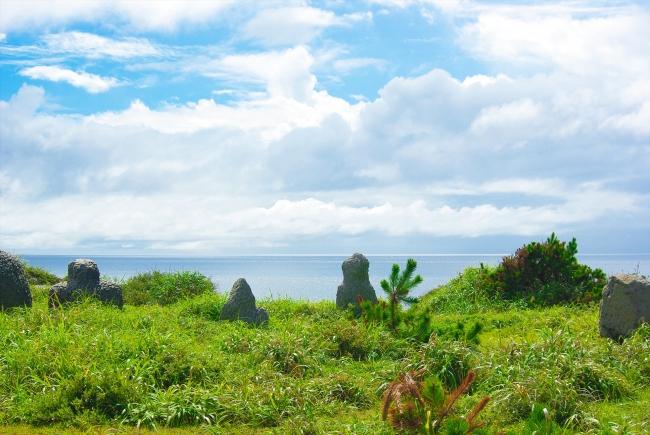 空と大地のコントラストが鮮やかな新島