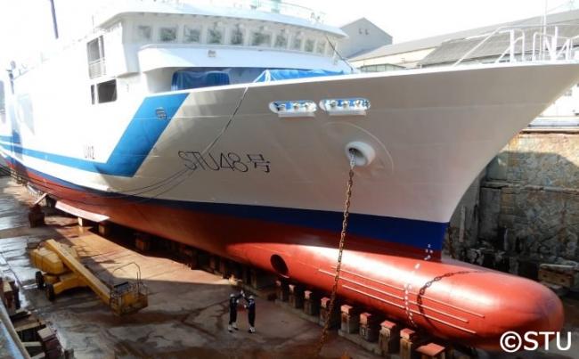 ▲船名塗装完了後のSTU48号