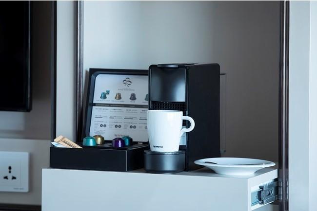 客室備え付けのネスプレッソでコーヒーもお召しあがりいただけます