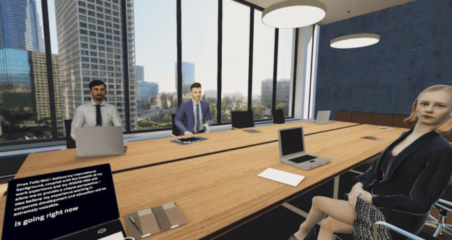 VRに再現されたミーティング場面で練習が可能