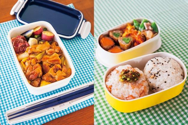 左)2点ロックランチボックス ¥1,296(税込)、 右)アルミ蓋二段小判弁当箱 小 イエロー ¥2,700(税込)