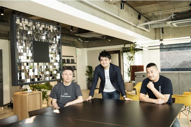 (左から、  DNX Ventures 倉林氏、  当社 村尾、  DCM Ventures 本多氏)