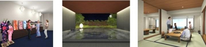 ※写真左より1階ファッション浴衣レンタルコーナー、1階半露天風呂、コネクティングルームB(和室+和室タイプ)