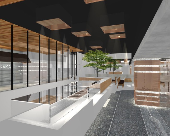 桜坂店内装。ゴールドと銅を基調とした高級感のある店内。