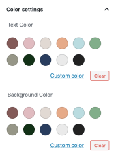 Screenshot of Color settings in Gutenberg