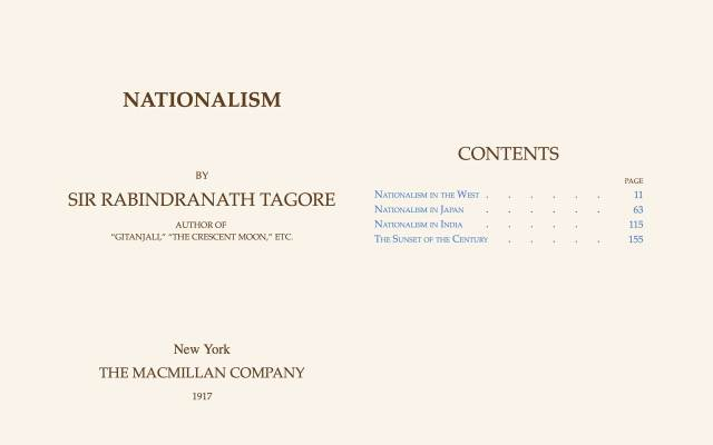 Inside of the ebook Nationalism by Tagore.