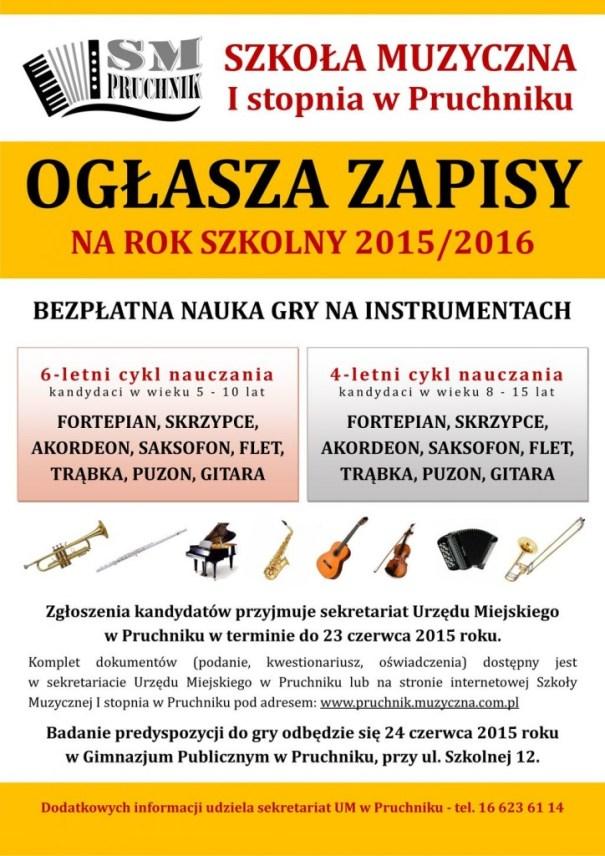 Plakat zapisy Pruchnik SM 2015