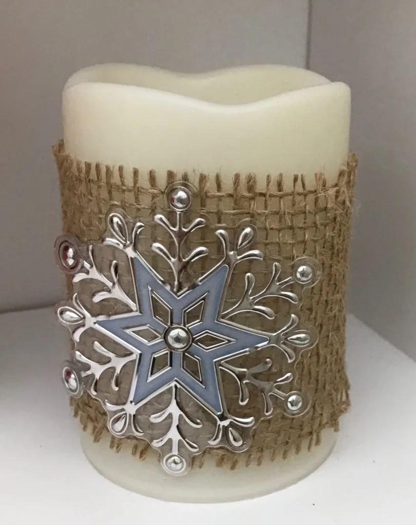 snowflake burlap candle
