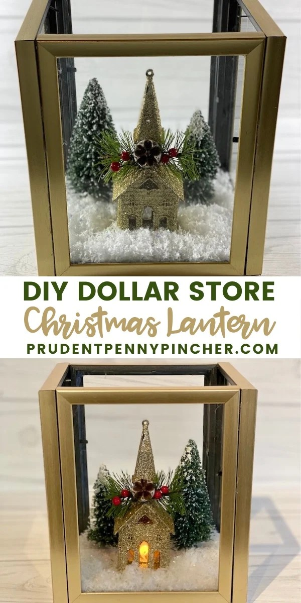 DIY Dollar Store Christmas Lantern #Christmas #ChristmasDecor #ChristmasCenterpieces #ChristmasCrafts #DIY #Crafts #DollarStore