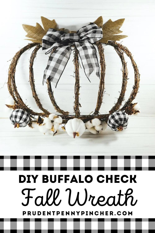 DIY Buffalo Check Pumpkin Fall Wreath