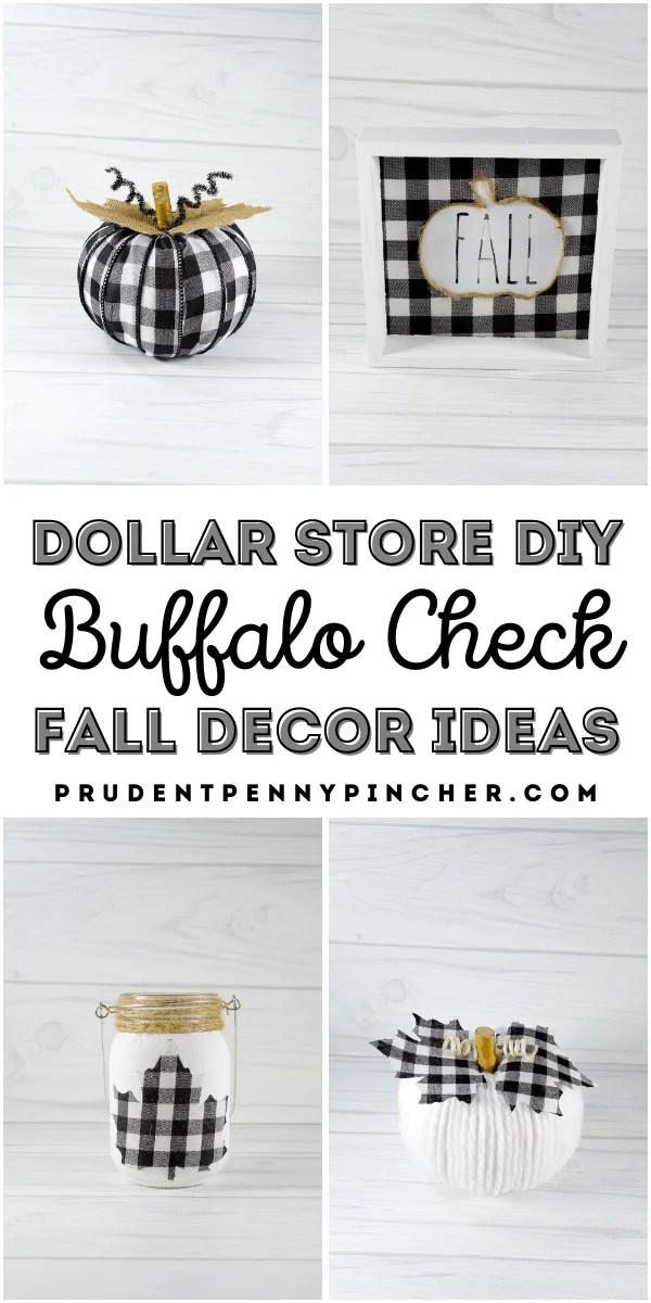 dollar store DIY buffalo check fall decor ideas