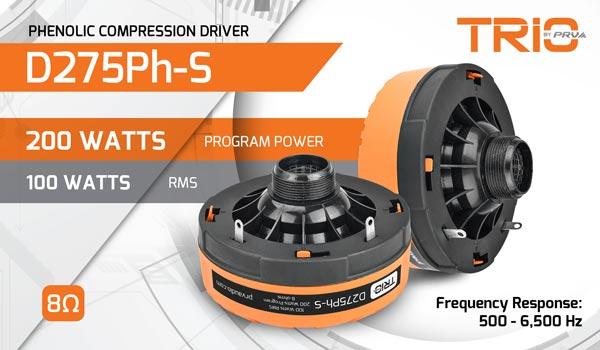 D275Ph-s 200 Watts Program Power | 100 Watts RMS | Frequency Response: 500-6500Hz