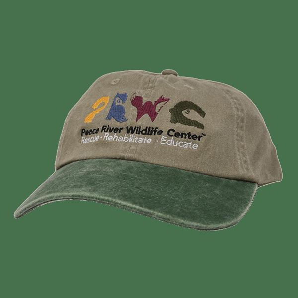 Khaki Baseball Cap w Logo Green Visor