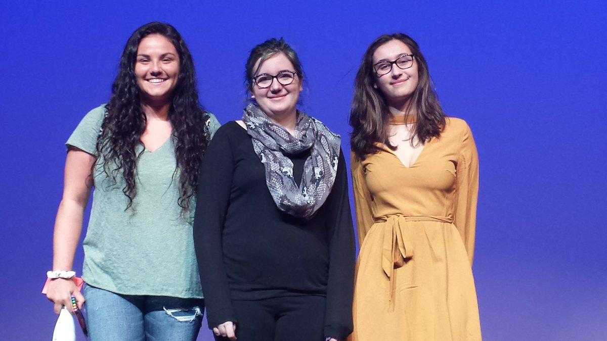 Jewl Amburgey, Sydney Onoyan, and Ava McVey won the slam poetry competition on March 23, 2017.
