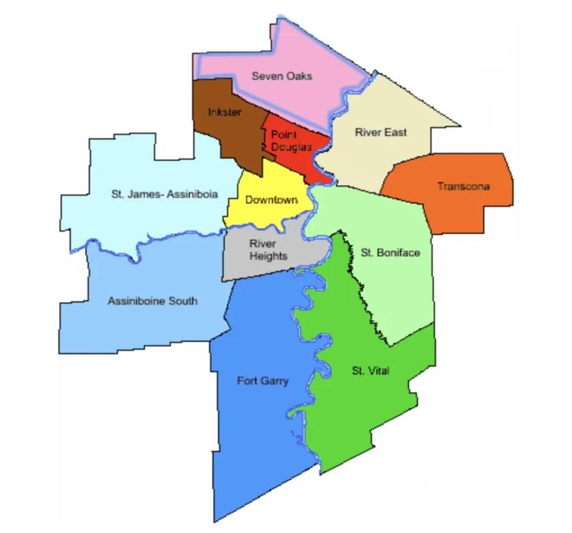 карта районов виннипега