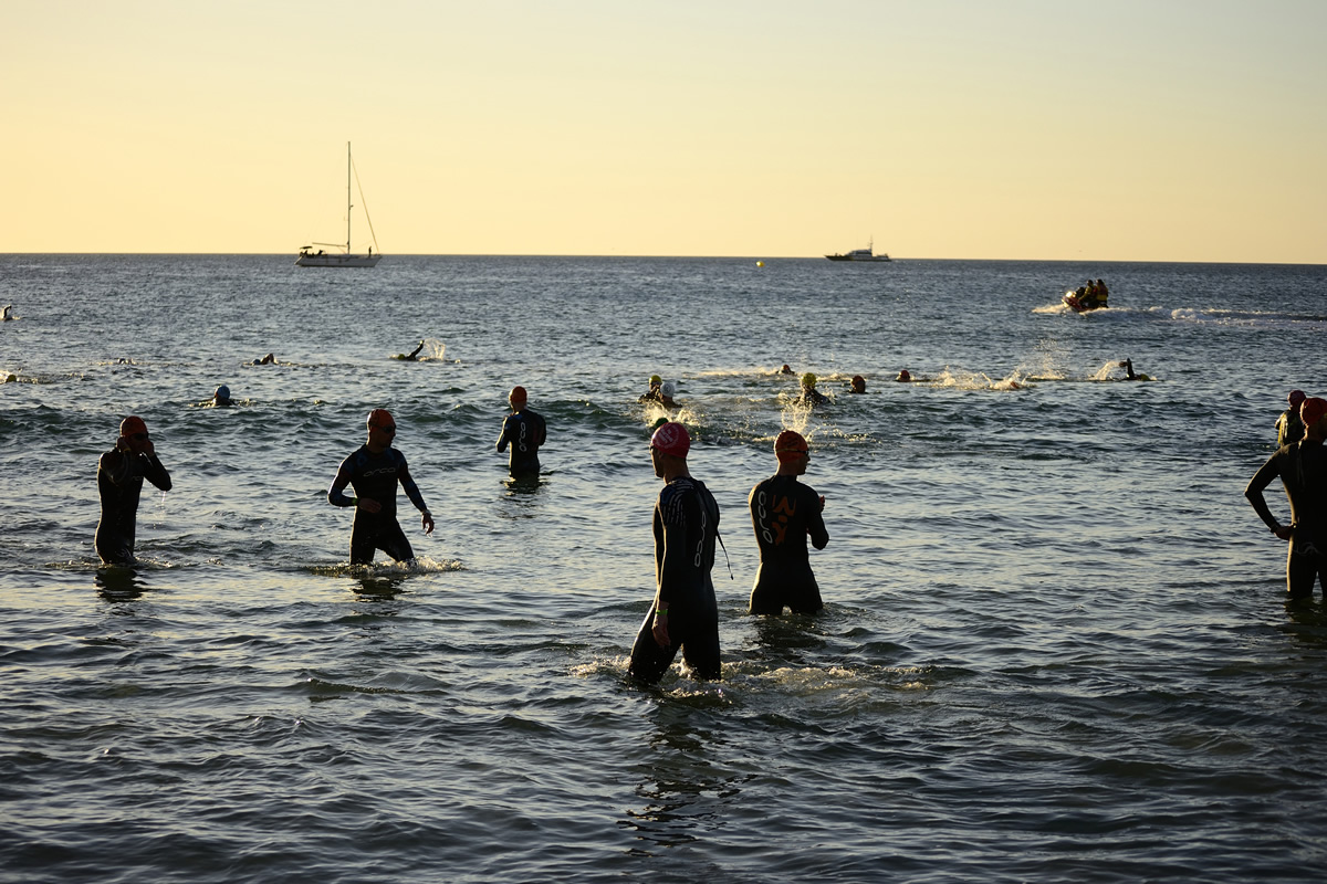 Santa Pola, Spain - April 26, 2014 Athletes in the Half Ironman of Arenales