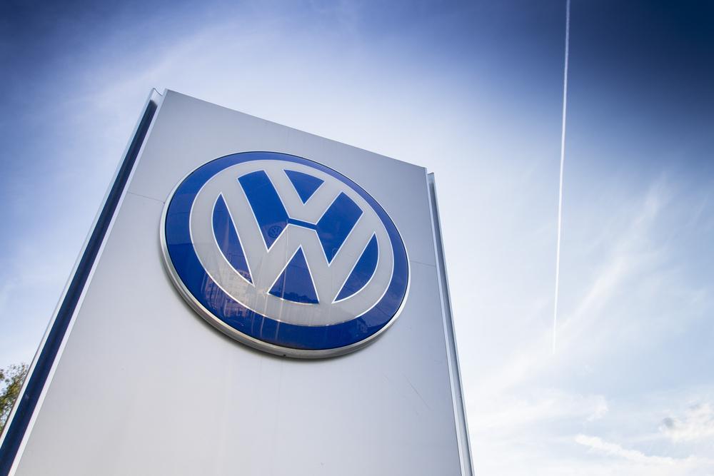 VW Emissions Volkswagen car maker logo on a building of dealership on September 24, 2015 in Prague, Czech republic. Great emission scandal raises around number of VW cars.