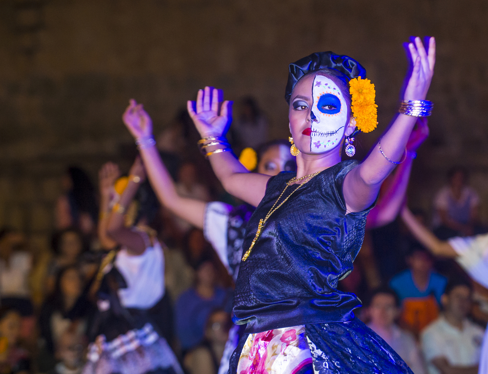 Day of the Dead - participants on a carnival of the Day of the Dead in Oaxaca, Mexico