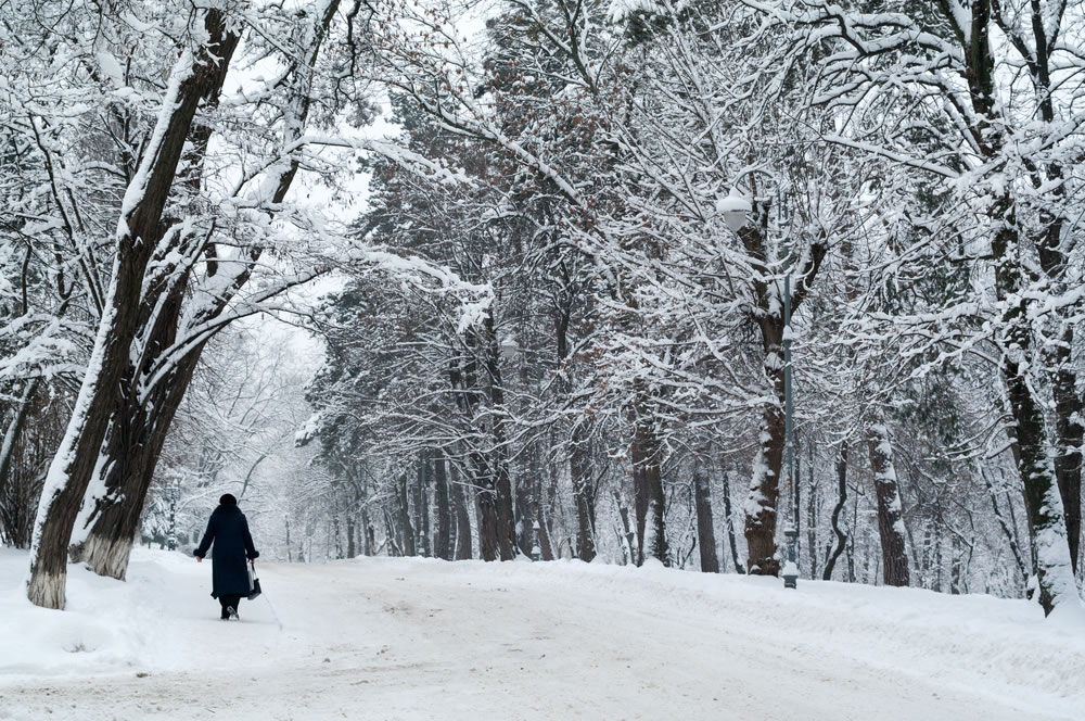woman walking on snow day