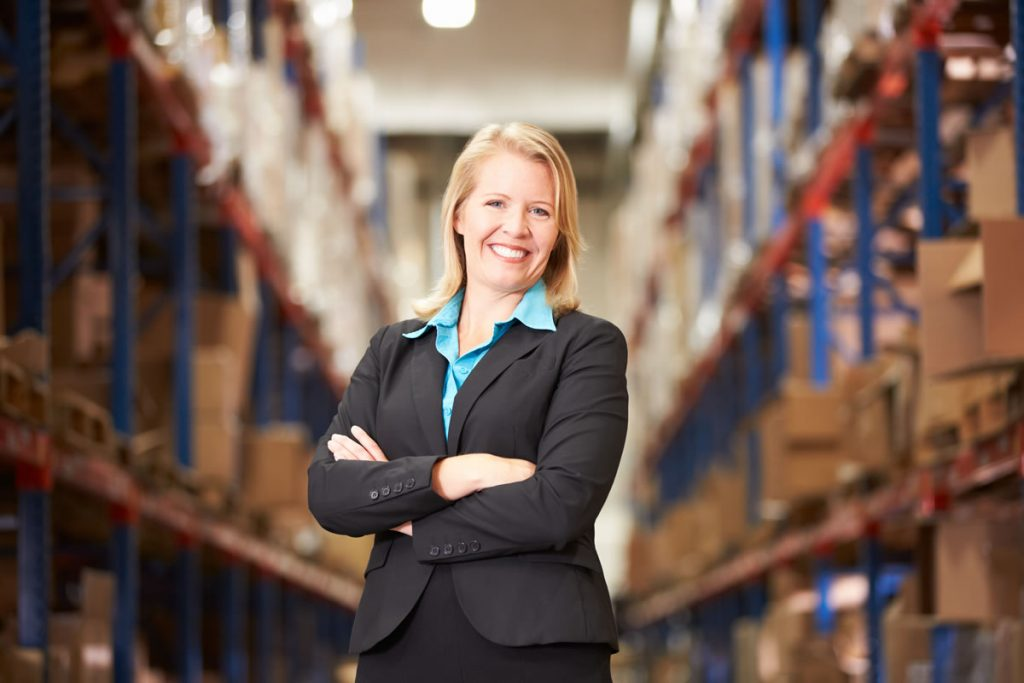 entrepreneur woman manager in warehouse