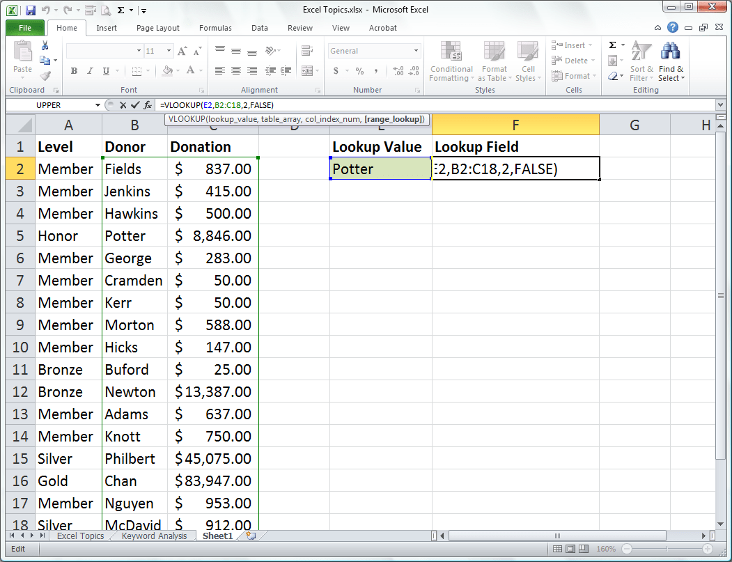 Use Vlookup To Find Values From An Excel Table