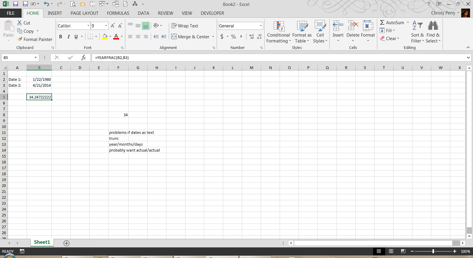 Need An Excel Formula To Calculate Age