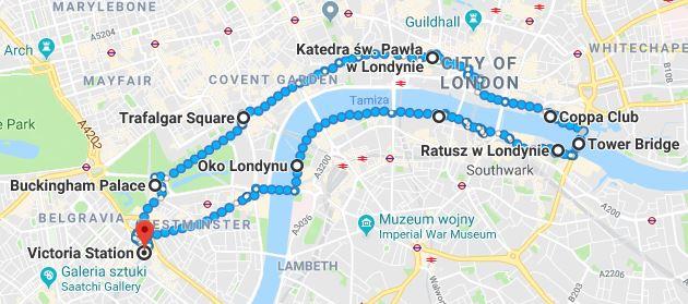 Londyn - trasa wzdłuż Tamizy