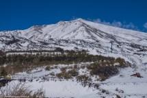 wulkan etna - widok na szczyt w śniegu