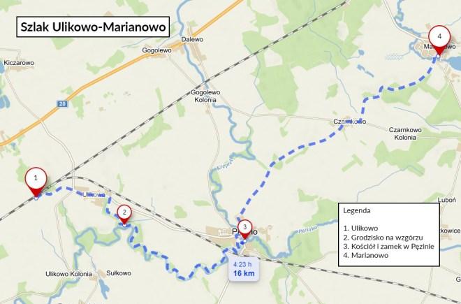 Szlak z Ulikowa do Marianowa - mapa