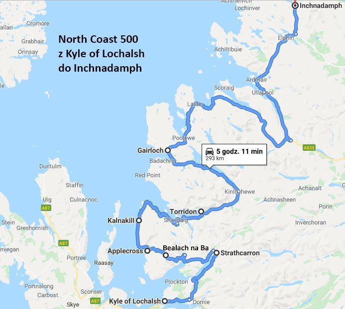 Trasa z Kyle of Lochalsh do Inchnadamph