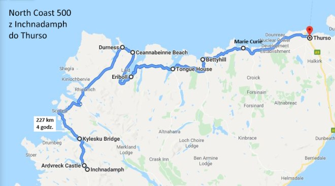 Mapa - na północ North Coast 500